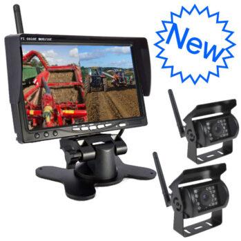 Split Screen Wireless Monitor and 2 Camera Tractor CCTV